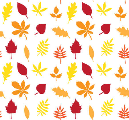Vector seamless pattern of different color hand drawn leaves silhouette isolated on white background