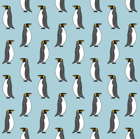 Vector seamless pattern of colored hand drawn doodle sketch penguin isolated on blue background Иллюстрация