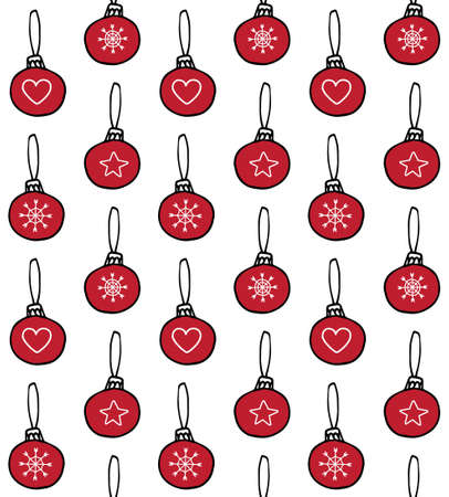 Vector seamless pattern of red hand drawn doodle sketch Christmas new year tree decoration balls isolated on white background