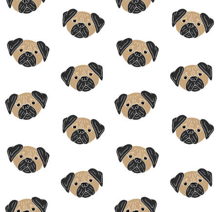 Vector seamless pattern of colored hand drawn doodle sketch pug dog face isolated on white background