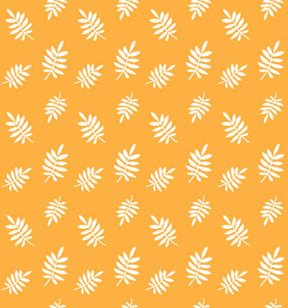 Vector seamless pattern of white hand drawn rowan leaf silhouette isolated on orange background
