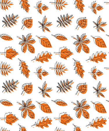 Vector seamless pattern of hand drawn doodle sketch autumn orange leaves isolated on white background Иллюстрация