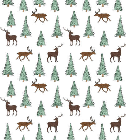 Vector seamless pattern of colored hand drawn doodle sketch deer and spruce tree isolated on white background