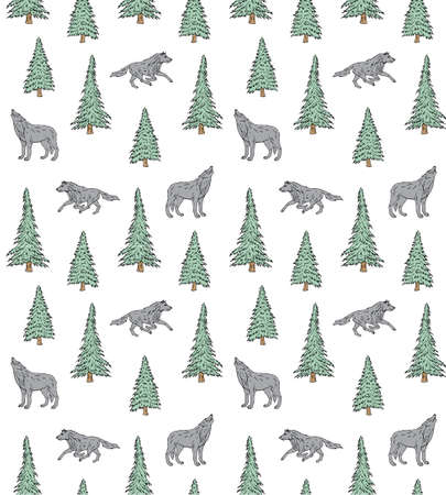 Vector seamless pattern of hand drawn doodle sketch colored forest wolf and spruce tree isolated on white background