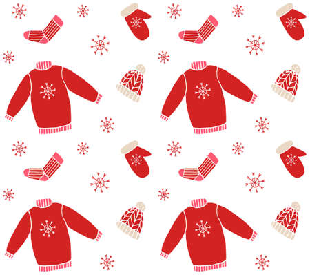 Vector seamless pattern of different color hand drawn doodle sketch winter clothes isolated on white background