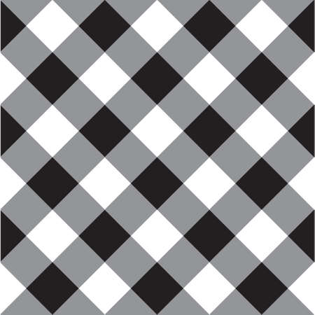 Vector seamless pattern of black checkered crossed plaid isolated on white background Иллюстрация