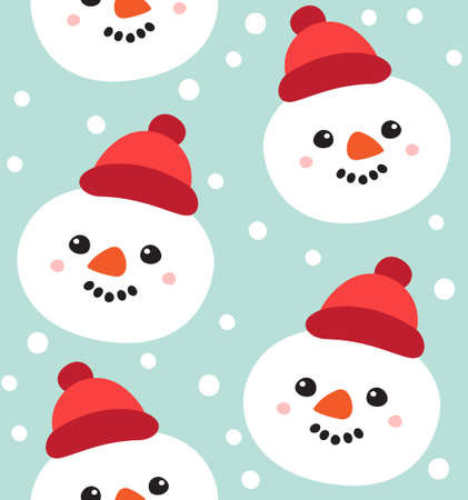 Vector seamless pattern of hand drawn doodle flat snowman face isolated on blue background