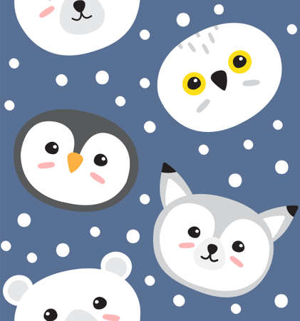 Vector seamless pattern of flat cartoon doodle polar wild animals isolated on blue background Иллюстрация