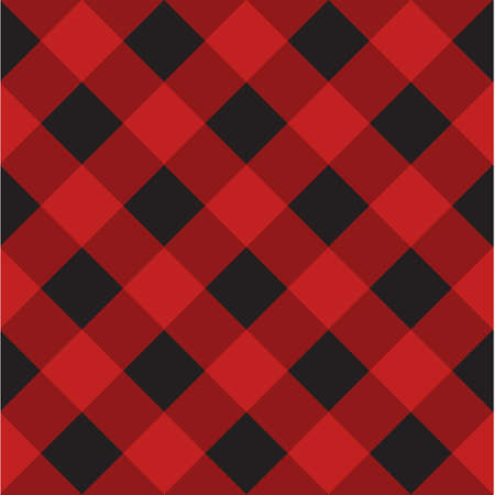 Vector seamless pattern of black Scottish checkered Tartan plaid isolated on red background