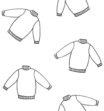 Vector seamless pattern of hand drawn doodle sketch sweater isolated on white background