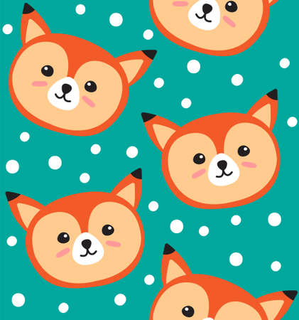 Vector seamless pattern of flat cartoon doodle fox face isolated on green background