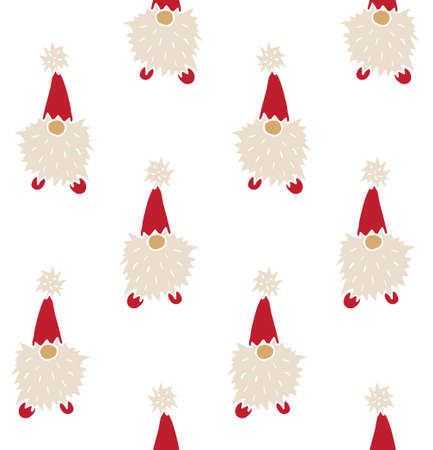 Vector seamless pattern of hand drawn doodle sketch colored Scandinavian Christmas gnome isolated on white background