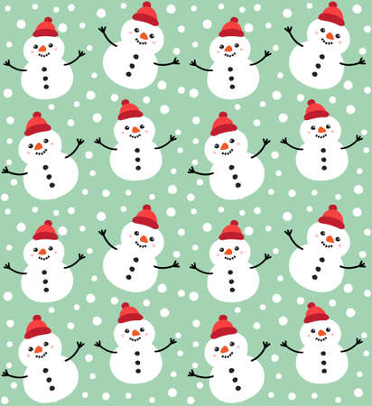 Vector seamless pattern of hand drawn doodle flat snowman isolated on mint green background