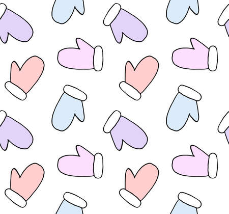 Vector seamless pattern of different color hand drawn doodle sketch mitten isolated on white background Иллюстрация