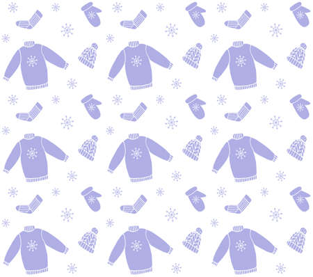 Vector seamless pattern of blue hand drawn doodle sketch winter clothes isolated on white background