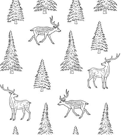 Vector seamless pattern of hand drawn doodle sketch deer and spruce tree isolated on white background