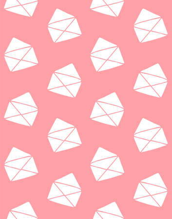 Vector seamless pattern of white hand drawn doodle sketch opened letter envelope isolated on pink background