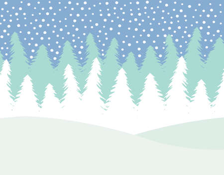 Vector flat cartoon winter landscape with spruce trees forest and snow isolated on white background Иллюстрация