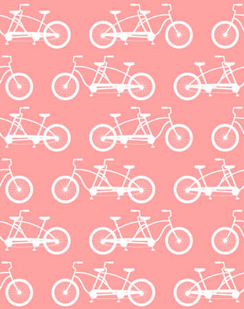 Vector seamless pattern of white flat double pair bicycle silhouette isolated on pink background