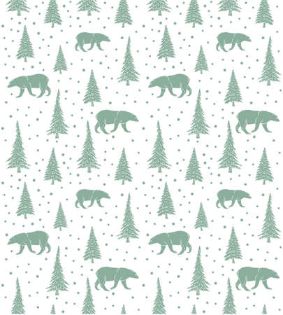 Vector seamless pattern of mint hand drawn doodle sketch bear and forest spruce tree isolated on white background Иллюстрация