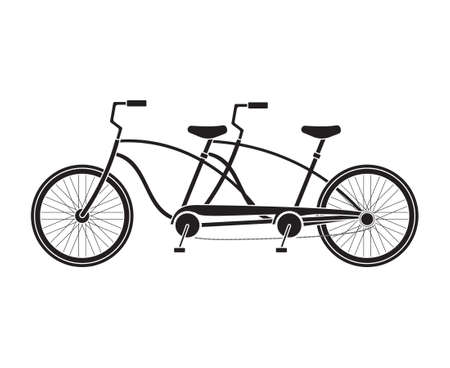 Vector flat double pair bicycle isolated on white background
