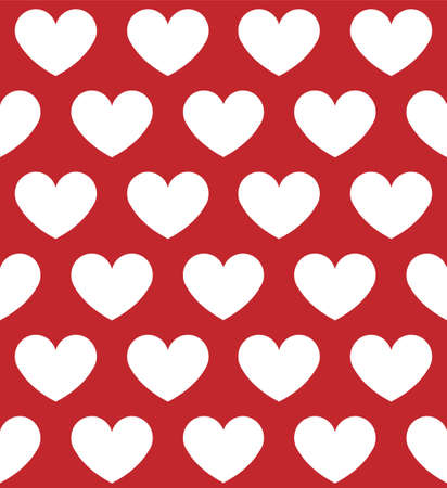 Vector seamless pattern of white flat hearts isolated on red background