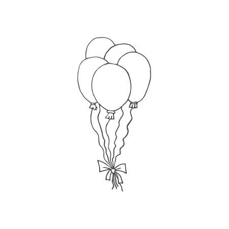 Vector set bundle of hand drawn doodle sketch air balloon isolated on white background Иллюстрация