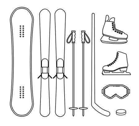 Vector set bundle of flat winter sport equipment isolated on white background Иллюстрация