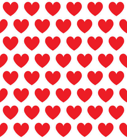 Vector seamless pattern of flat red hearts isolated on white background