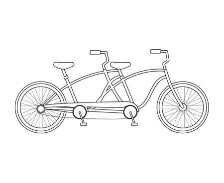 Vector flat cartoon double pair bicycle isolated on white background 免版税图像 - 162834635