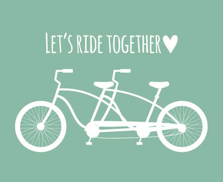 Vector flat double bicycle silhouette and lettering isolated on mint background. Valentine's Day illustration