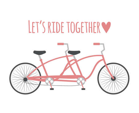 Vector flat cartoon double bicycle and lettering isolated on white background. Valentine's Day illustration