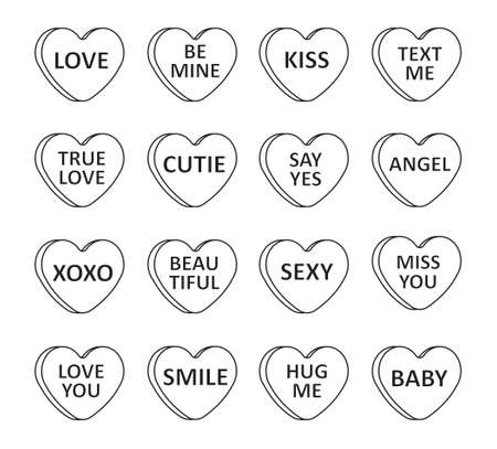Vector set bundle of flat cartoon Valentine's candy with love text isolated on white background