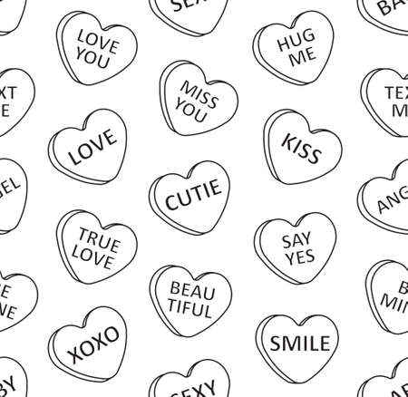 Vector seamless pattern of flat cartoon Valentine's sweet candy with love text isolated on white background