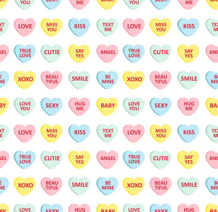Vector seamless pattern of different color flat cartoon Valentine's candy with love text isolated on white background Иллюстрация