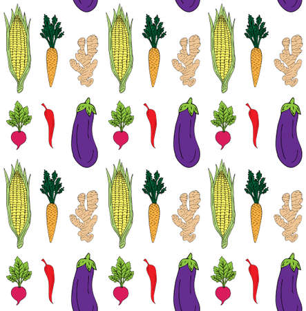 Vector seamless pattern of colored vegetables isolated on white background