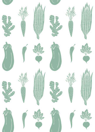 Vector seamless pattern of mint green vegetables isolated on white background Иллюстрация