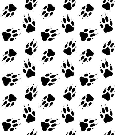 Vector seamless pattern of wolf dog paw foot print isolated on white background