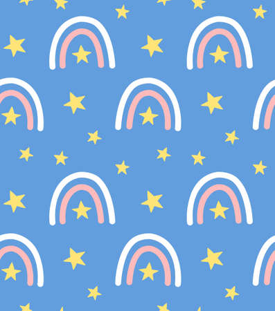 Vector seamless pattern of hand drawn doodle sketch rainbow isolated on blue background