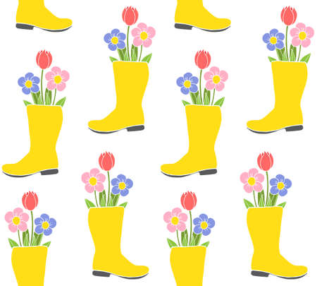Vector seamless pattern of hand drawn doodle sketch gumboot with flowers isolated on white background