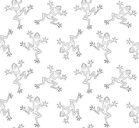 Vector seamless pattern of hand drawn doodle sketch frog isolated on white background
