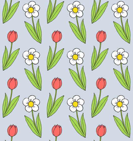 Vector seamless pattern of different colored hand drawn doodle sketch flower isolated on blue background