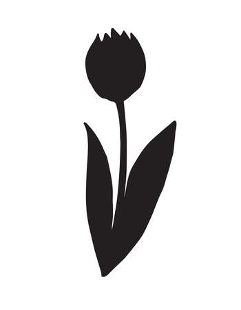 Vector hand drawn doodle sketch tulip flower silhouette isolated on white background