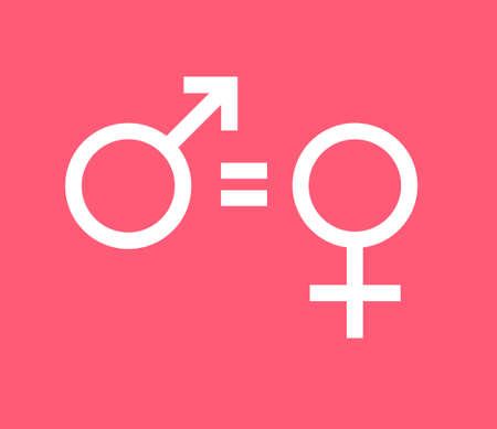Vector white flat woman equality sign isolated on pink background. Feminist woman rights illustration