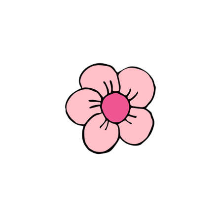 Vector hand drawn doodle sketch colored flower isolated on white background Иллюстрация