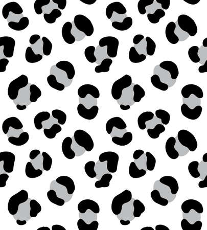 Vector seamless pattern of gray hand drawn leopard dotted fur print isolated on white background Иллюстрация