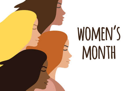 Vector flat banner with different women and women month lettering isolated on white background. International women's day equality illustration