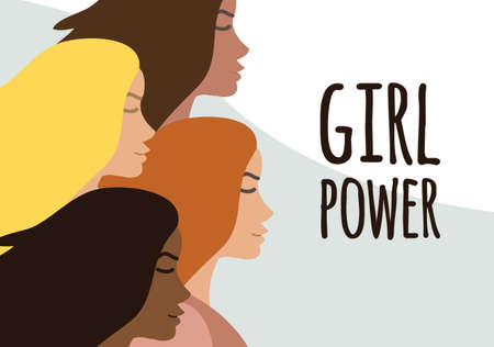Vector flat banner with different women and girl power lettering isolated on background. International women's day equality illustration