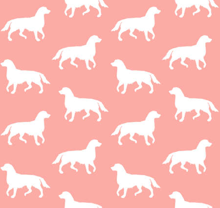 Vector seamless pattern of white hand drawn retriever dog silhouette isolated on pink background Иллюстрация