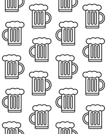 Vector seamless pattern of flat beer isolated on white background Иллюстрация